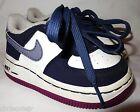 NIKE Air Force 1 White Purple Navy Blue Sneakers Shoes size 45 C Toddler Girls
