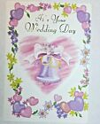 1 Wedding Day Greeting Card Envelope Flowers Happy Promise Joy Couple Commitment