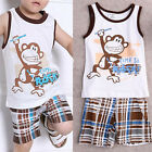 Toddler Kids Baby Boys Summer Outfits T shirt Tank Tops+Pants 2pcs Clothes Set