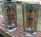 Two Georges Briard Mid Century High Ball Glasses Gold Green Gilt Pattern