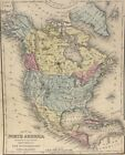 1868 S Augustus Mitchell Hand Colored Single Page Map of the North America