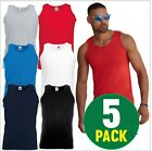5 PACK Fruit of the Loom Mens Value weight Athletic Vest Tops Summer Vests Tee