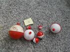 VNTAGE RED WHITE  FISHING BOBBERS       LOT OF 7