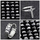 Lot 10pcs unique charm Mixed style hollow stainless steel ring