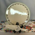 Vintage Kitchen Kraft Oven Serve Cake Plate and Server Ivory with Green Trim