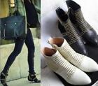 Women's Leather Rivet Studded Ponted Toe Cowboy Motorcyle Ankle Riding Boot Shoe