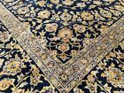9x12 BLUE PERSIAN RUG IRAN HAND KNOTTED RUGS WOOL HANDMADE antique gold 10x13 ft