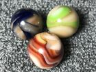 3 GREAT RAVENSWOOD Swirl Marbles * BLUES, REDS, GREENS