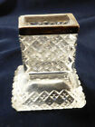 VTG English Crystal Glass  silver Match or Toothpick holder desk or table top