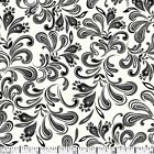 QUILT FABRIC 100 COTTON FEATHERLY BLACK  WHITE FP 05 By The Yard