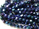 Vintage Blue Purple Carnival IRIS AB Facet 5mm Czech Glass Beads Lot of 300 pcs