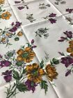 UNUSED vtg tablecloth crisp ivory bold floral Yellow Purple German Indanthren