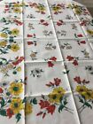 UNUSED vtg tablecloth crisp ivory bold floral Yellow Red German Indanthren 63 51