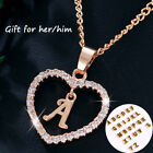EP Gold Silver Plated Initial Alphabet Letter A S Heart Pendant Chain Necklace