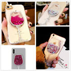 Luxury Bling Dynamic Liquid Quicksand Wine glasses PC Clear Case Cover For Phone