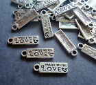 Small Made With Love Rectangular Tag Charms Silver Set of 50