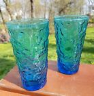 viNTaGe Set of (2) Anchor Hocking (Laser Blue) 12 oz (Lido Milano) Tumblers