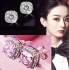 925 Sterling Silver Plated Pave Cubic Zirconia CZ 8 mm Square Pink Stud Earrings