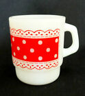 Fire King Anchor Hocking RED POLKA DOTS Lace Milk Glass Coffee Cup Mug Stackable