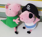 TY BEANIE 2 X PEPPA PIG GEORGE CHARACTER PLUSH TOYS! PIRATE ABOUT 16CM SEATED!