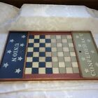Checkers/Chess Game Board, Union Confederate, Wood Country Style, Folk Art