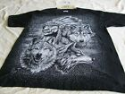 Black  White DBL Sided Large T Shirt Indian Chief and Wolves Vtg 90s Cotton