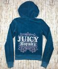 Juicy Couture Women Petite Small Velour Zip Up Hoodie Jacket Teal Green Glitter