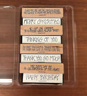 RARE Stampin Up THOUGHTS 4 YOU + GREETINGS 4 YOU wood foam mount Lot Phrases VTG