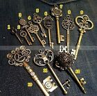 Lot of 12 New Large Royal Antique Old Look Vintage Skeleton Charm Pendant Key S7