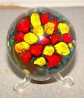 Shawn Messenger Art Glass Marble Paperweight Red  Yellow Roses