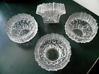 Rare! MID CENTURY MODERN CUBIST Ice Crystal ATOMIC Footed Glass DESSERT DISHES