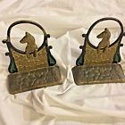 Antique Dog at gate Puppy bronze cold painted enamel Book ends doorstop pair 6''