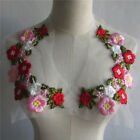 pink Roses Embroidered Neckline Flower Patch Floral Neck Collar Applique YL542