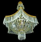French Regency Empire Basket Neoclassical Chandelier/Gilt Bronze and Cut Crystal