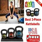 Fitness Kettlebell Weights 5 10 15 Body Set Of 3 With Black Rack For Women NEW