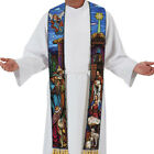 Stained Glass Nativity Overlay Stole B4926 110 Long with 4 Tassels