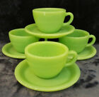Four (4) Vintage Fire-King Jadeite Restaurant-ware Cups and Saucers - NEVER USED