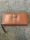 COLE HAAN Brown Leather Zip Around Wallet Clutch