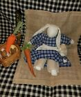 Primitive Country Spring Bunny Rabbit Gingham Blue Carrot Egg