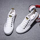Korean Mens Casual Lace Up Flat Driving Outdoor Sneaker Low Top White Shoes US9