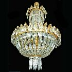 French Regency Empire Basket Gilt Bronze Chandelier, Cut Crystal w Plums