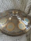 Fire King 2-QT Baking Dish GOLD Turquoise Georges Briard Casserole w/ Lid  Great