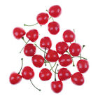10X Fake Fruit Small Artificial Flower Red Cherry For Kids Funny Kitchen ToysS5T