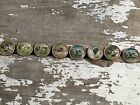 8 waistcoat lithograph buttons, dog, hunting images, circa late 1800's.
