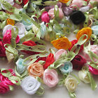 100pcs Satin Ribbon Flowers Bows Rose Sewing Wedding Appliques