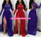 Women See through Mesh Sequined Long Sleeve High Side Slit Maxi Night out Dress