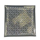 Mid Century Modern Glass Square Serving Tray Platter Paisley Black Gold Atomic