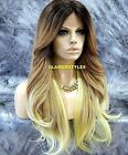 Long Bangs Ombre Brown Medium Blonde Mix Full Lace Front Wig Heat Ok Hair Piece