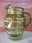 Anchor Hocking Glass Green Optic Decorated Floral 2 quart Pitcher with Ice Lip