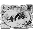 Christmas Cling Rubber Stamp Sheet Snowy Postcard Trimmed Rubber Stamps New